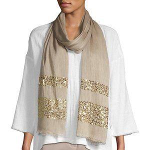 Portolano Sequin Linen Silk Scarf Warm Sand Gold